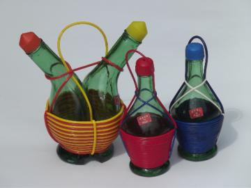 Green glass Italian wine bottles shakers, oil and vinegar, 60s vintage Italy