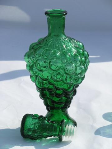 Green Grape Pattern Glass Retro Decanter Shot Glasses Set