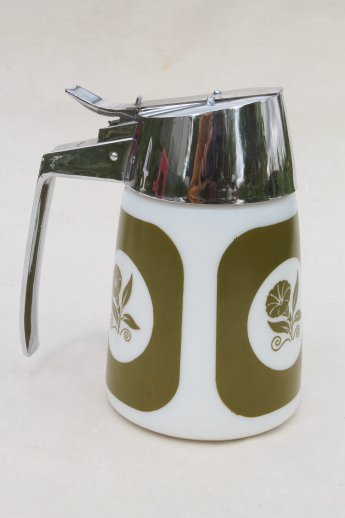 Green morning glory milk glass kitchen glassware, dripcut syrup pitcher, dispenser & shakers