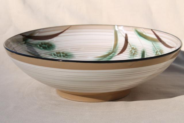 green wheat pattern ceramic salad bowl, vintage hand painted china w/ Napco Japan label