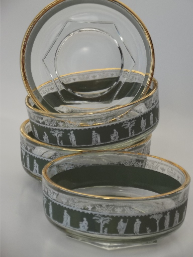 Green & white cameo Hellenic grecian pattern glass bowls, 60s vintage