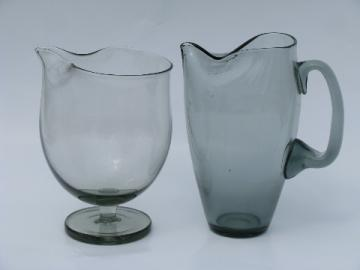 Grey smoke glass pitchers, vintage 1960's Italian art glass