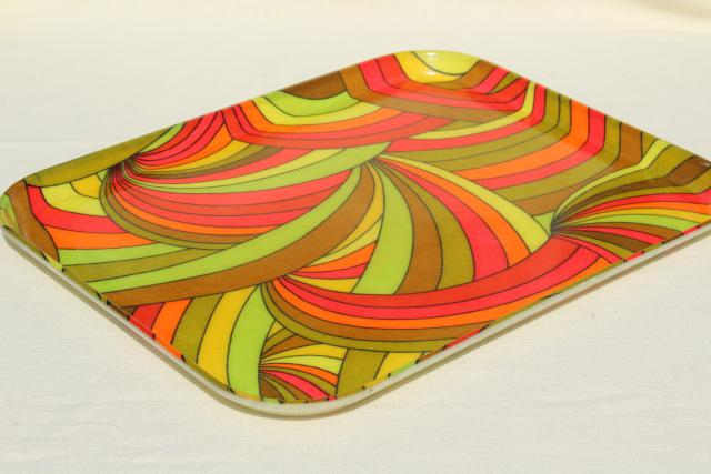 groovy 60s vintage fiberglass tray w/ neon day-glo color swirls, psychedelic pop art