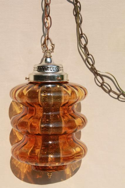 Groovy 60s Vintage Swag Lamp W Curvy Amber Glass Shade