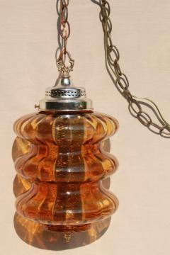 groovy 60s vintage swag lamp w/ curvy amber glass shade, pendant lantern light
