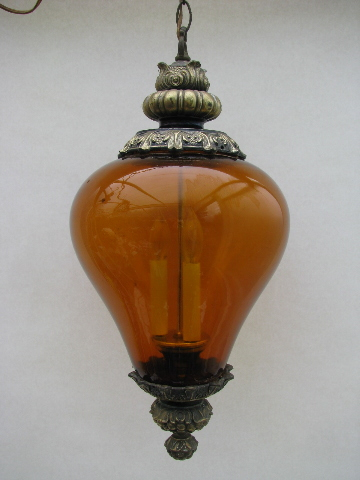 Groovy Retro Vintage Swag Lamp Amber Glass Light Shade
