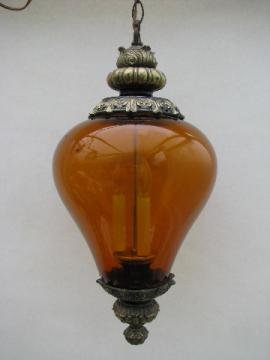 Groovy retro vintage swag lamp, amber glass light shade