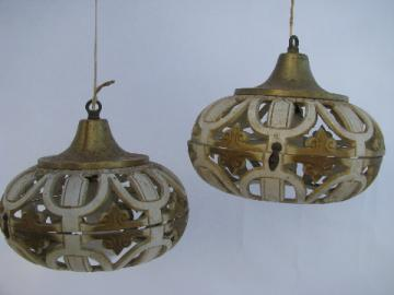 Groovy vintage swag lamp pendant lights, ornate french ivory & gold, boho gypsy retro