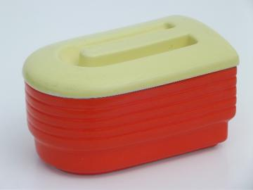 Hall china Westinghouse refrigerator box, art deco orange and yellow