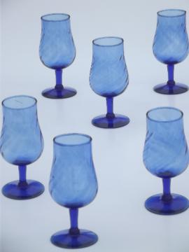 Hand blown vintage cobalt blue glass wine glasses set, 6 small goblets