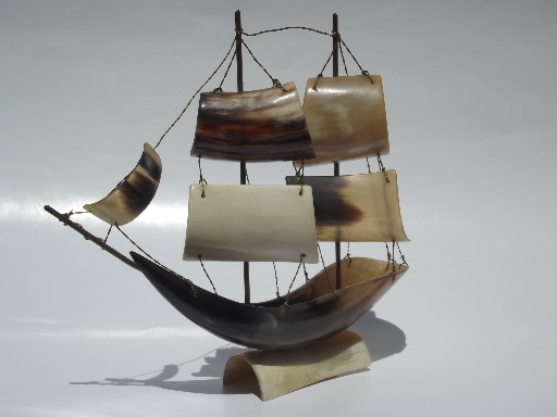Hand Carved Cow Horn Tall Sailing Ship Model 60s Vintage