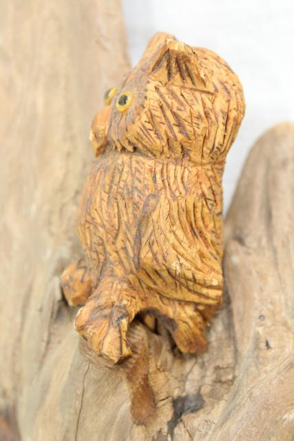 hand carved green man tree spirit w/ owl, 80s vintage signed carving natural driftwood
