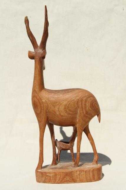 Hand Carved Natural Wood Antelope Deer Family Mother