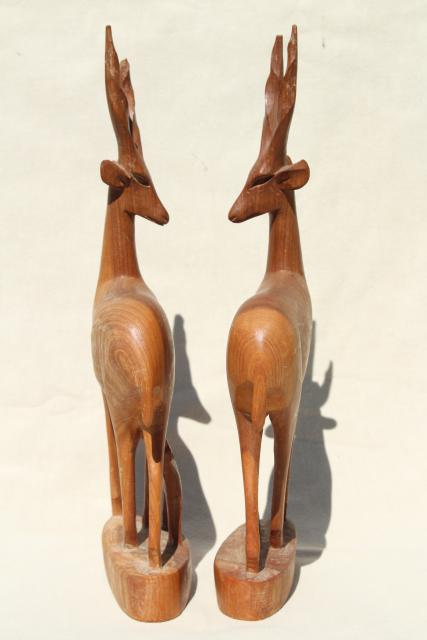 hand carved natural wood antelope deer family, mother & baby, vintage African carvings