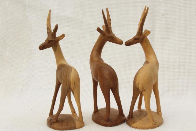 Hand Carved Natural Wood Antelope Deer Vintage African