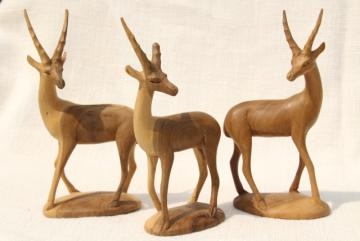 hand carved natural wood antelope deer, vintage African carvings statues figurines