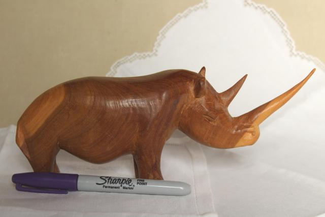 hand crafted carved wood rhino, rustic wooden animal sculpture, Indian rhinoceros