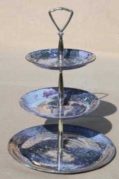 hand painted marbled iridescent skytone blue china three tier cake stand, tiered plate serving tray