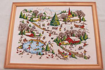 hand stitched crewel wool embroidery picture, folk art Americana winter village landscape skaters