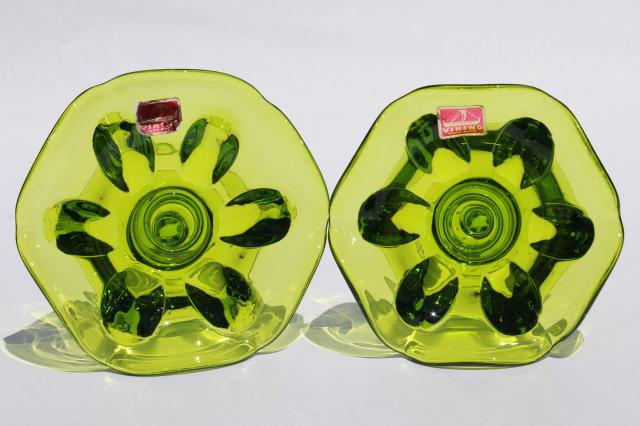 hand-blown art glass candle holders in retro lime green color, vintage Viking label