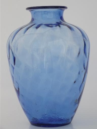 Hand Blown Cobalt Blue Glass Jar 80s Vintage Art Glass Vase
