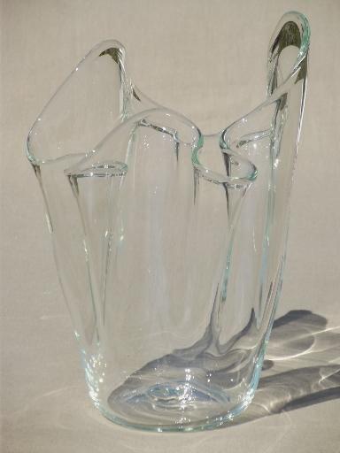 Hand Blown Freeform Art Glass Vase Large Crystal Clear Handkerchief