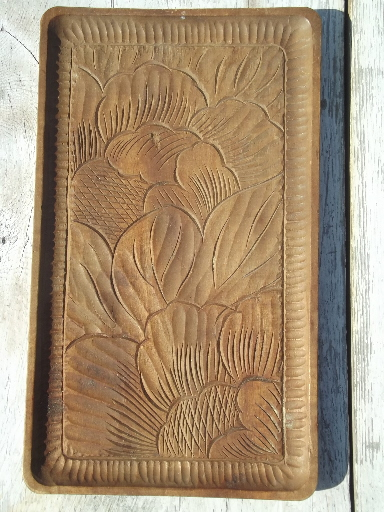 Hand carved acacia wood tray 50s 60s vintage tray w tropical flowers
