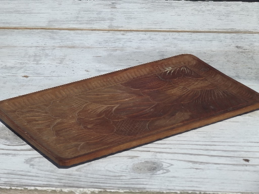 Hand-carved acacia wood tray, 50s 60s vintage tray w/ tropical flowers