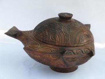 Hand-carved ironwood bowl, abstract fish shape, vintage African art?