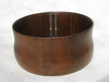 Hand-crafted 60s mod vintage staved wood Missouri walnut nut bowl