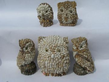 Handcrafted seashell owls, sea shell art owl lot, vintage Philippines