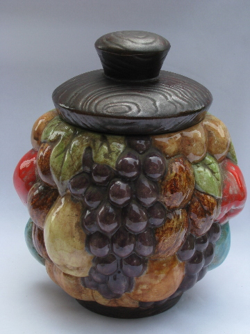 Handmade 70s Vintage Ceramic Cookie Jar Fruit Harvest