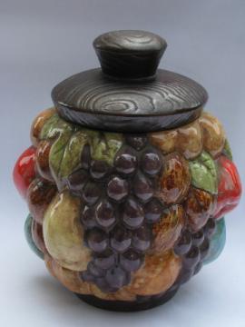 Handmade 70s vintage ceramic cookie jar, fruit harvest, nuts & grapes
