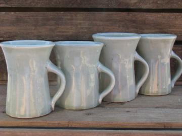 Handmade ceramic coffee mugs, Little Fort pottery in celedon green