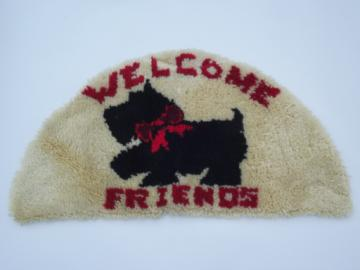 Handmade never used latch hooked rug w/ Scotty dog, Scottie welcome mat