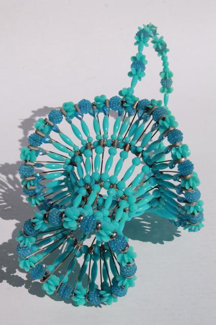 handmade vintage beaded safety pin basket, french delphite blue turquoise plastic beads