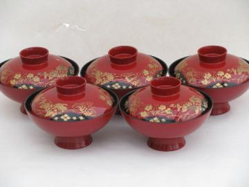 Hand-painted Japan red & gold lacquerware, lacquer rice bowls w/ covers
