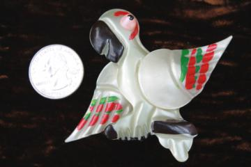 Hand-painted pearly plastic parrot pin, mid-century vintage early plastic costume jewelry