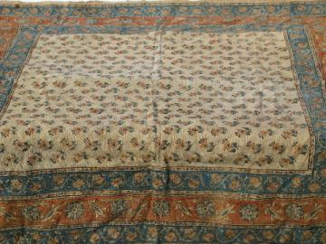 Hand-woven flax linen or hemp fabric cloth w/ ethnic block print design