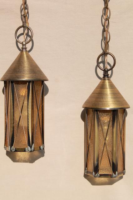 hanging brass lanterns pendant light w twin lights retro 60s vintage swag lamp