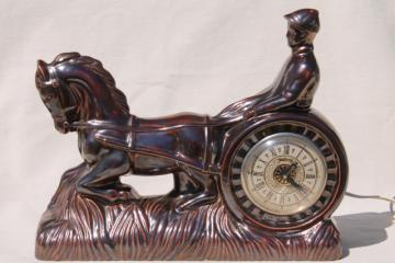 harness track racing jockey & horse vintage ceramic mantle clock, retro TV lamp style!