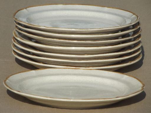 baroque stoneware salad plates set, vintage Japan pottery