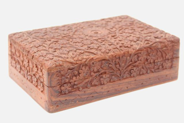 heavy carved wooden cigar box, tropical teak or sheesham wood, 1960s vintage