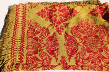 heavy fringed brocade bedspread, boho 60s 70s vintage coverlet olive green & red