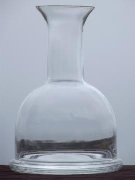 Heavy glass carafe or ship's decanter, mod vintage weighted bottom bottle