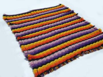Heavy wool  crocheted knit bedspread blanket, retro orange w/ purple & black