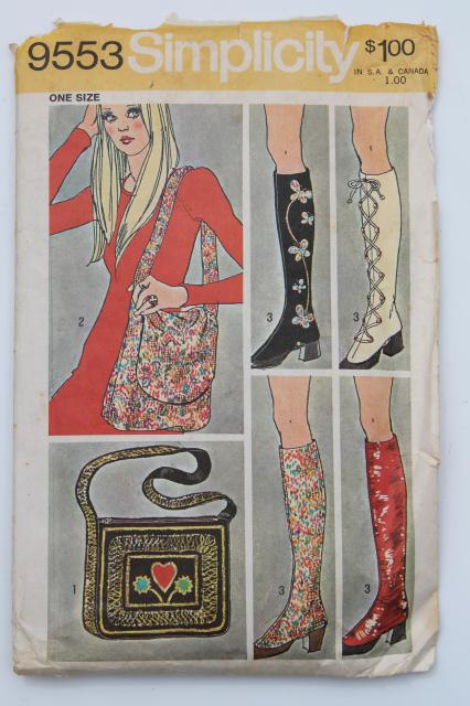 hippie boho vintage Simplicity sewing pattern mod shoulder bag purses, tall spats boot covers