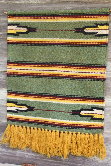 Hippie Vintage Aztec Indian Woven Rug Wall Hanging