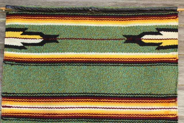hippie vintage Aztec indian woven rug wall hanging, Mexican saddle blanket southwest decor