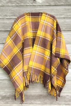 hippie vintage Indian blanket poncho, Faribo fringed wool plaid camp blanket wrap
